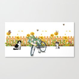 Cats Summer Garden Bike Butterflies Canvas Print
