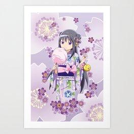 Homura Akemi (Yukata & Cherri Blossom edit) Art Print