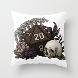 Skeleton D20 Tabletop RPG Gaming Dice Throw Pillow
