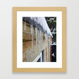 Icicles Forming On A Felted Roof   Framed Art Print