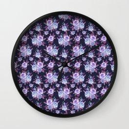 Cosmic blue roses. Wall Clock