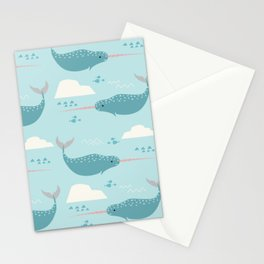 Narwhal blue Stationery Cards