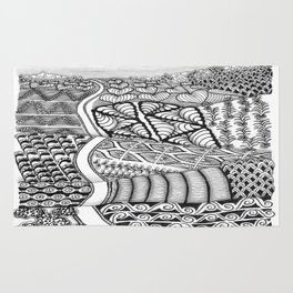 Zentangle Fields of Dream Black and White Adult Coloring Illustration Rug