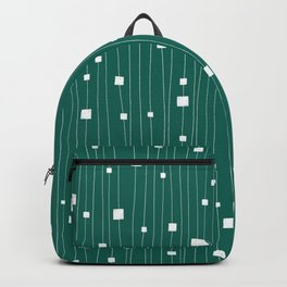 Squares and Vertical Stripes - Green and White - Hanging Backpack