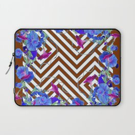 Coffee Brown Blue Morning Glories Abstract Pattern garden  Art Laptop Sleeve
