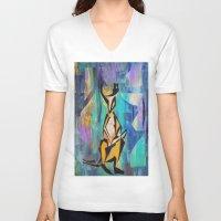 kangaroo V-neck T-shirts featuring KANGAROO by Matt Schiermeier