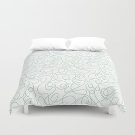 Doodle Line Art | Mint Green Lines on White Background Duvet Cover