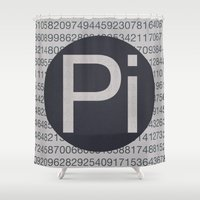 pi Shower Curtains featuring Pi Mono by sonsofwolves