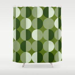 Retro circles grid green Shower Curtain