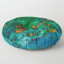 Emerald And Blue Glitter Marble Floor Pillow