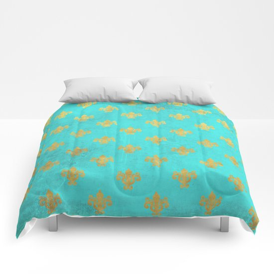 Queenlike on aqua I  Gold Heraldy elements on turquoise backround Comforters