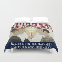 propaganda Duvet Covers featuring Muggles Are Our Friends (HP Propaganda Series) by Kate Moore