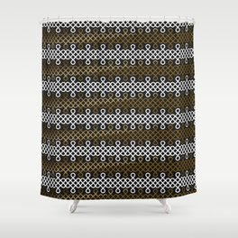 Endless Knot pattern - Gold & white Shower Curtain