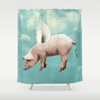 pigs Shower Curtains featuring when pigs fly... by Seamless