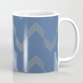 Simply Deconstructed Chevron White Gold Sands  on Aegean Blue Coffee Mug