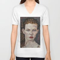 poker V-neck T-shirts featuring Poker face by Charles Ellison