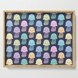 Cute colorful jellyfishes Serving Tray