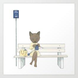 1014 Knitting Cat -  Bus Stop Art Print