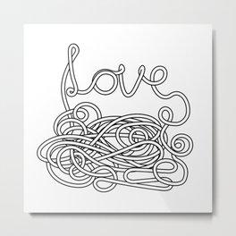 Spaghetti Love in Black and White Metal Print