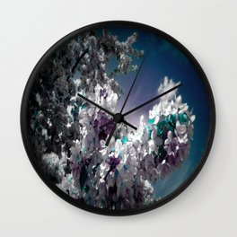Flowers Purple & Teal Wall Clock