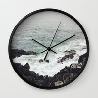 maine Wall Clocks featuring Maine Coast by Thais Marchese