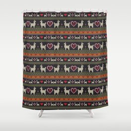 Llama Love Knit Shower Curtain