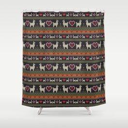 Llama Love Knit Shower Curtain