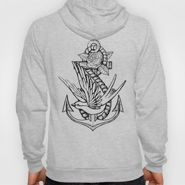 Anchor Swallow & Rose Old School Tattoo Style Hoody