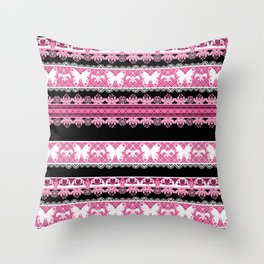 Black and pink striped pattern . Throw Pillow
