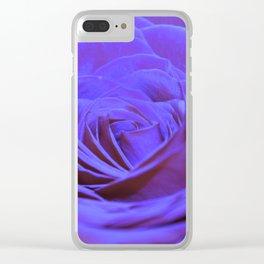 Purple Blue Rose Clear iPhone Case