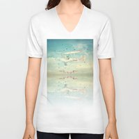 never stop exploring V-neck T-shirts featuring Never Stop Exploring III by Monika Strigel