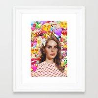 lana del rey Framed Art Prints featuring LANA DEL EMOJI by ICANWASHAWAY