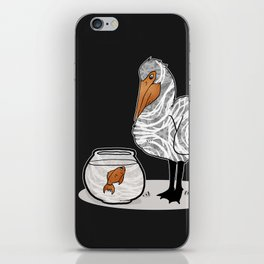 Pelican & Goldfish Bowl, Funny Animal Illustration, Black and White Cute Bird & Fish Graphic Design iPhone Skin