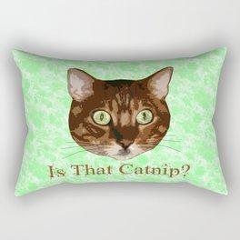Catnip Crazed Cat Rectangular Pillow