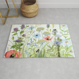 Floral Watercolor Botanical Cottage Garden Flowers Bees Nature Art Rug