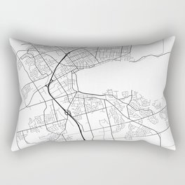 Barrie Map, Canada - Black and White Rectangular Pillow