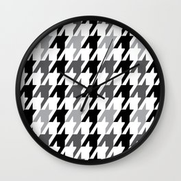 Greyscale Houndstooth Pattern Wall Clock