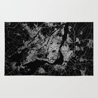 montreal Area & Throw Rugs featuring montreal map by Line Line Lines