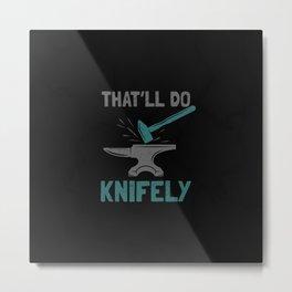 Knife Forging Blacksmith Knife Master Metal Print