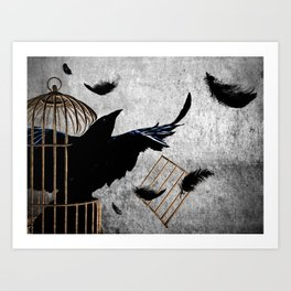 Crow Caged No More Raven Breaking Free Surreal Art A192 Art Print
