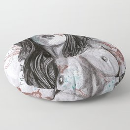 Nothing Violates This Nature (erotic drawing, nude butterfly girl) Floor Pillow