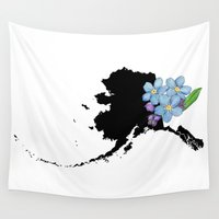 alaska Wall Tapestries featuring Alaska Silhouette by Ursula Rodgers