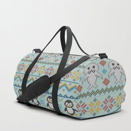 Cute Knitted Penguin and Seal Pattern Duffle Bag