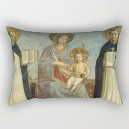 """Fra Angelico (Guido di Pietro) """"The Virgin and Child with St. Dominic and Thomas Aquinas"""" Rectangular Pillow"""