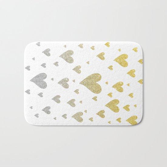 Glitter Hearts Bath Mat
