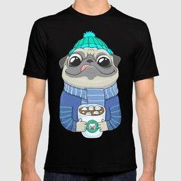 Pug with coffee T-shirt
