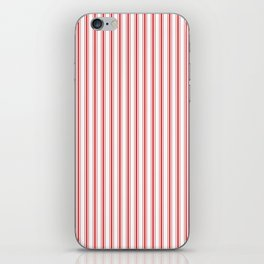 Mattress Ticking Narrow Striped Pattern in Red and White iPhone Skin