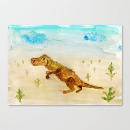 dinosaur in the desert Canvas Print