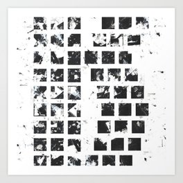 Squares abstact painting in black and white Art Print