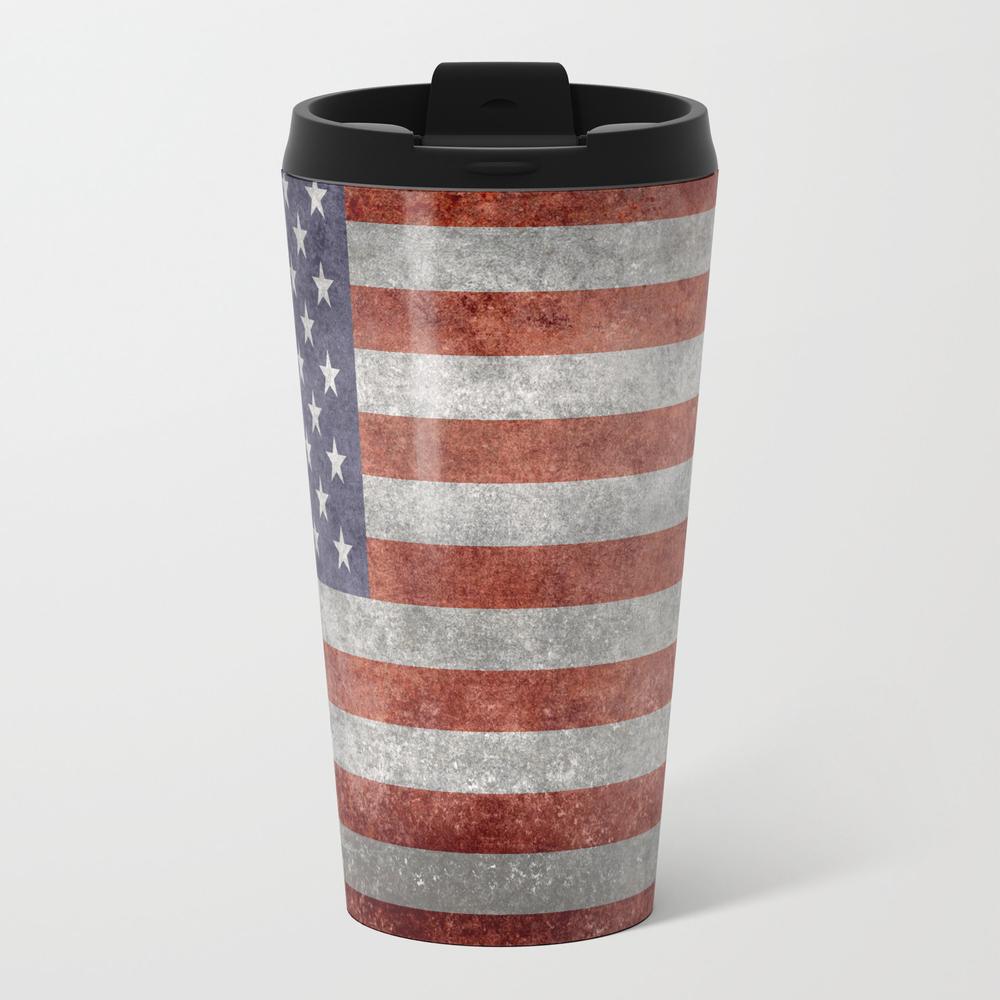 Usa Flag, High Quality Retro Style Metal Travel Mug by Flags MTM4095406